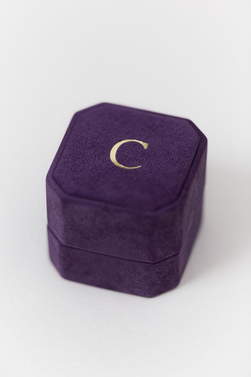 Bark-and-Berry-Grand-Bellflower-octagon-vintage-wedding-engraved-embossed-engraved-enameled-individual-monogram-suede-velvet-ring-box-001