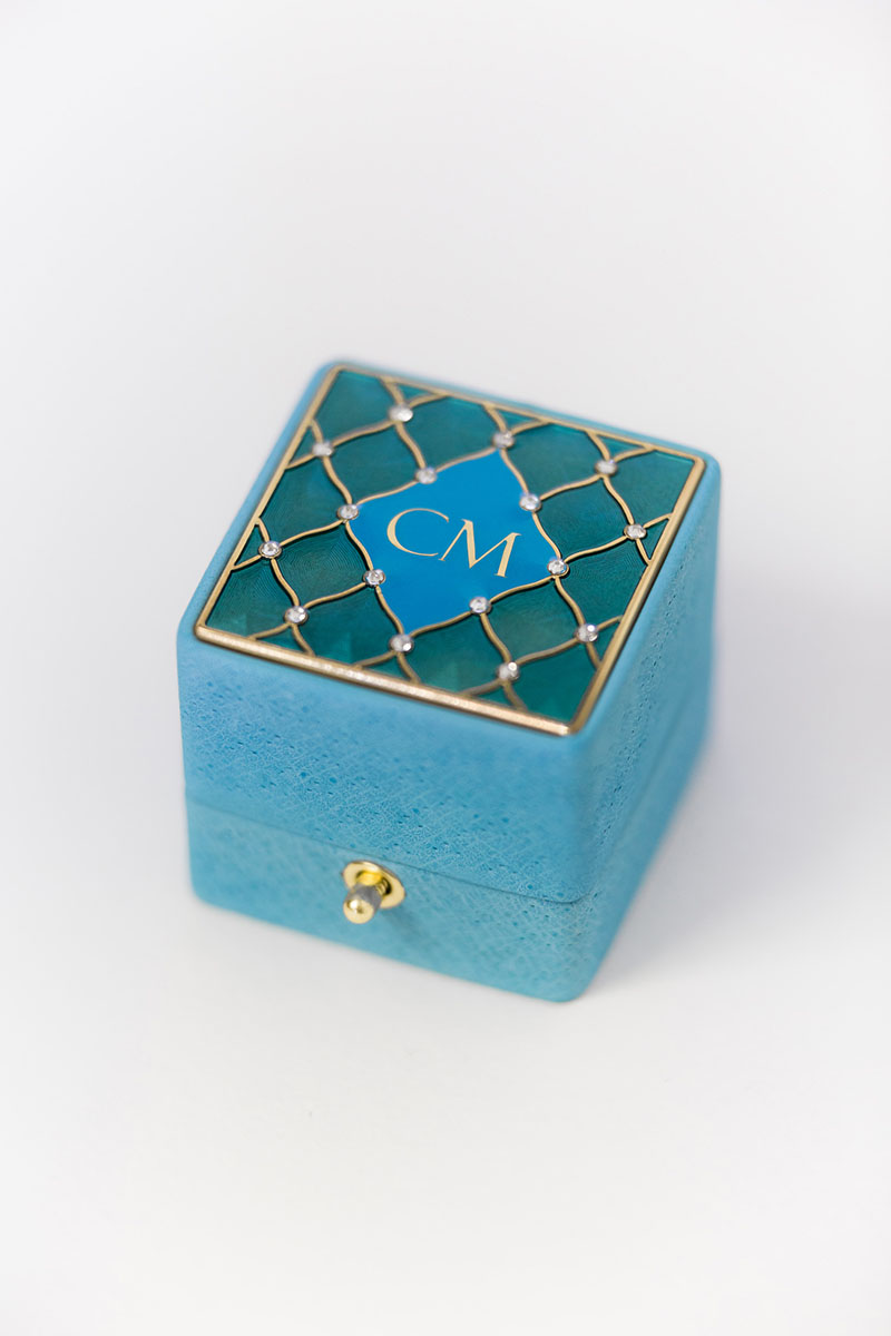 Bark-and-Berry-Grand-Cerulean-classic-lock-vintage-wedding-embossed-individual-monogram-velvet-leather-ring-box-enamel-guilloche-swarovski-crystals-001