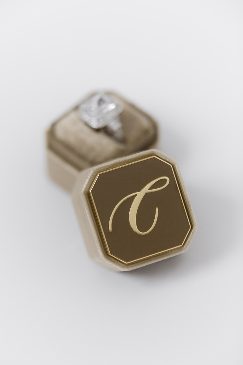 Bark-and-Berry-Petite-Taupe-octagon-vintage-wedding-embossed-engraved-enameled-individual-monogram-velvet-ring-box-002