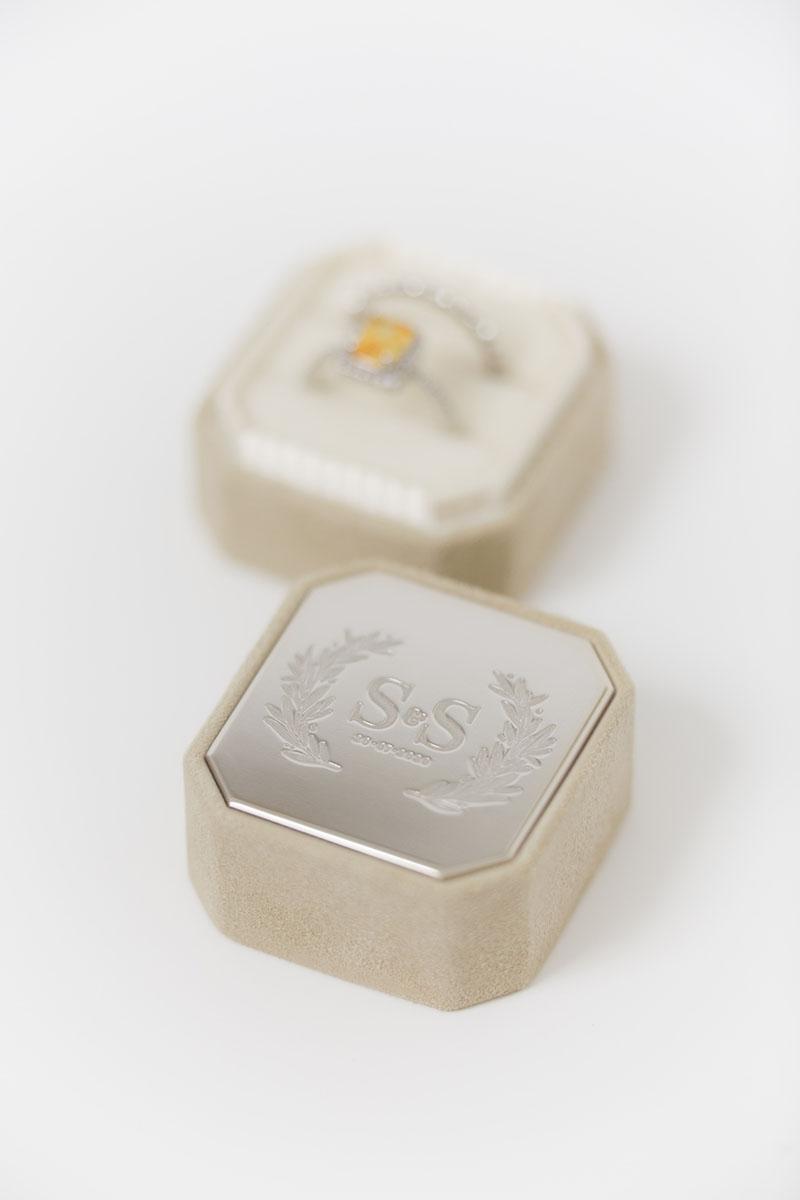 Bark-and-Berry-Grand-Anne-octagon-vintage-wedding-embossed-engraved-enameled-individual-monogram-velvet-suede-ring-box-002