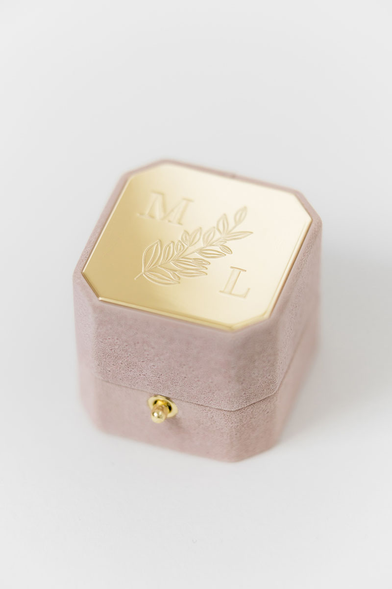 Bark-and-Berry-Grand-Diana-octagon-lock-vintage-wedding-embossed-engraved-enameled-individual-monogram-velvet-suede-ring-box-002