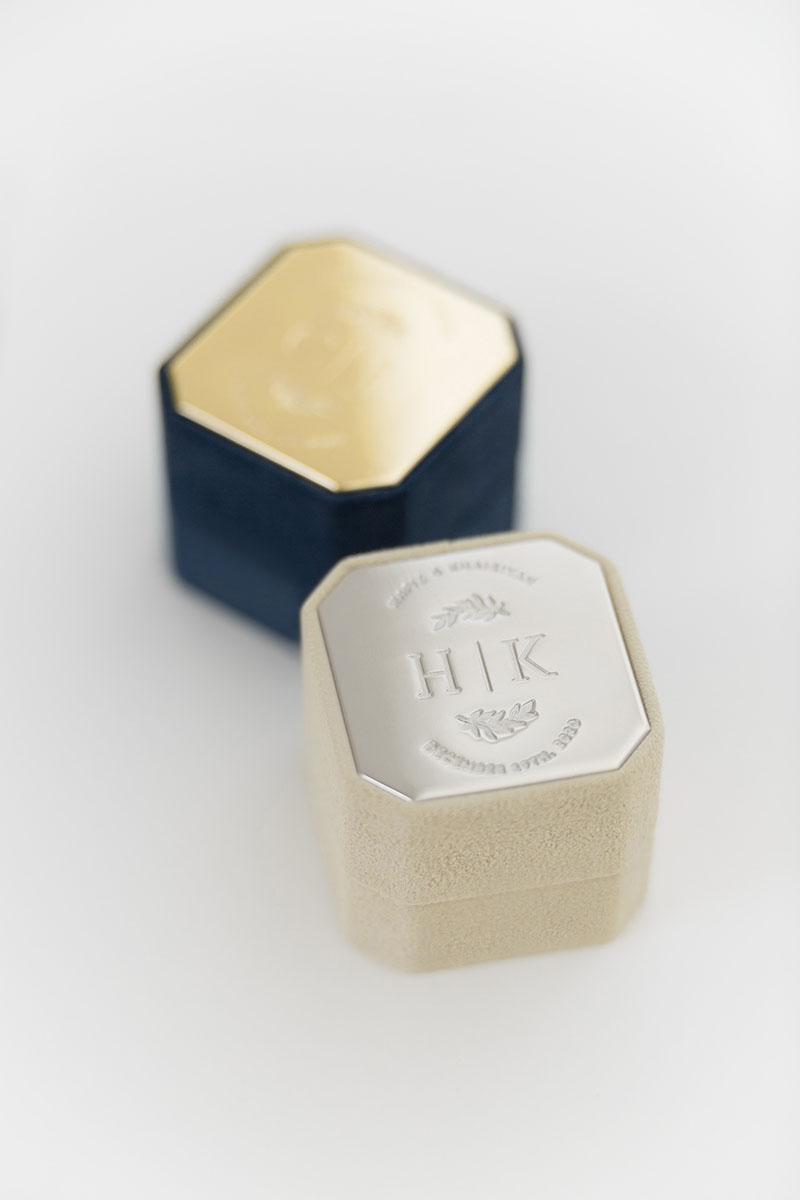 Bark-and-Berry-Grand-Anne-Nicholas-octagon-vintage-wedding-embossed-engraved-enameled-individual-monogram-velvet-suede-ring-box-001