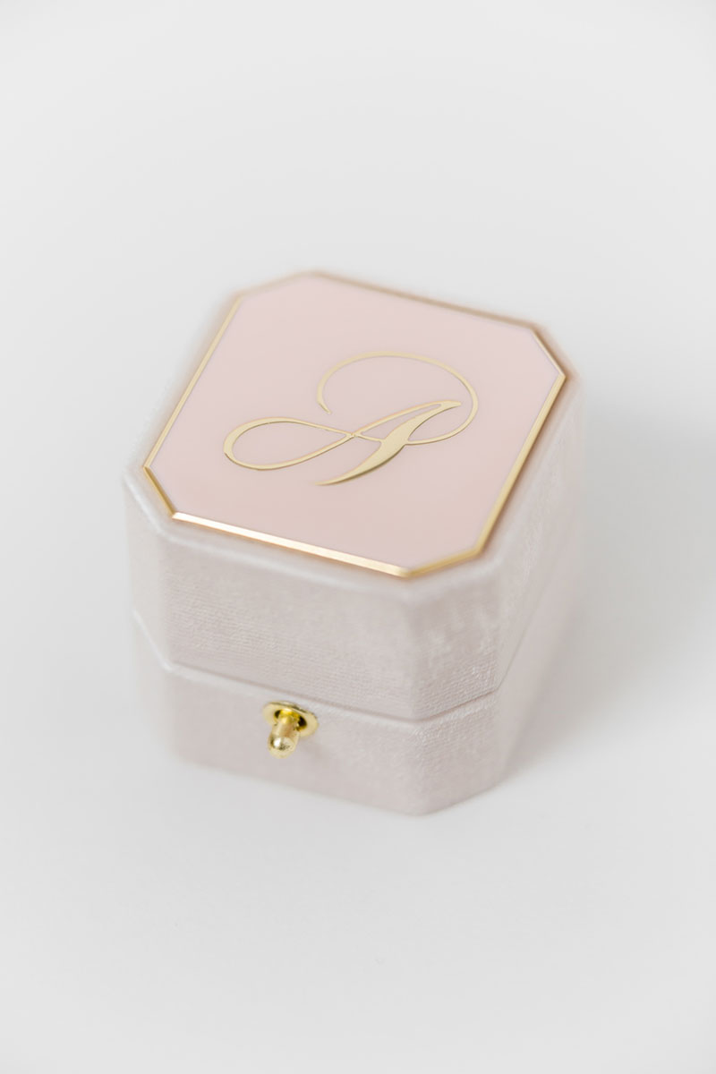 Bark-and-Berry-Grand-Blush-lock-octagon-vintage-wedding-engraved-embossed-enameled-individual-monogram-velvet-ring-box-001
