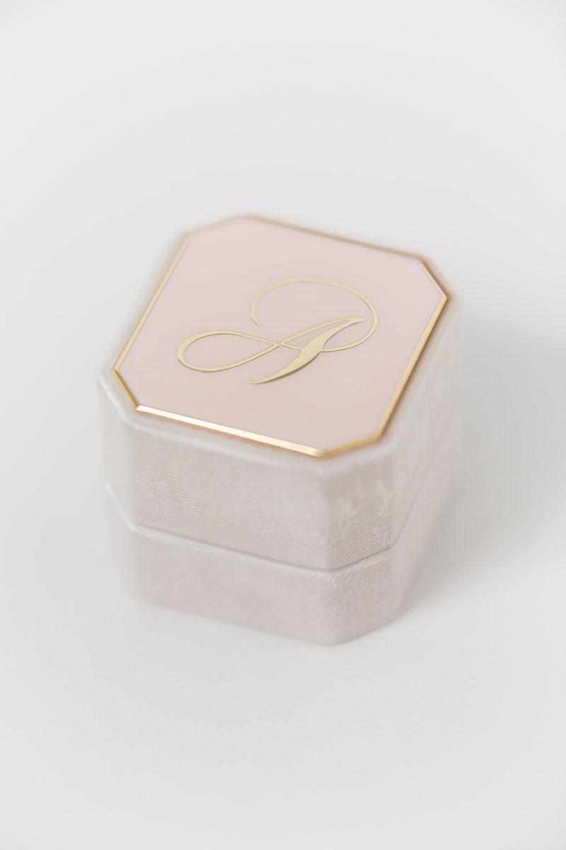 Bark-and-Berry-Grand-Blush-octagon-vintage-wedding-engraved-embossed-enameled-individual-monogram-velvet-ring-box-002