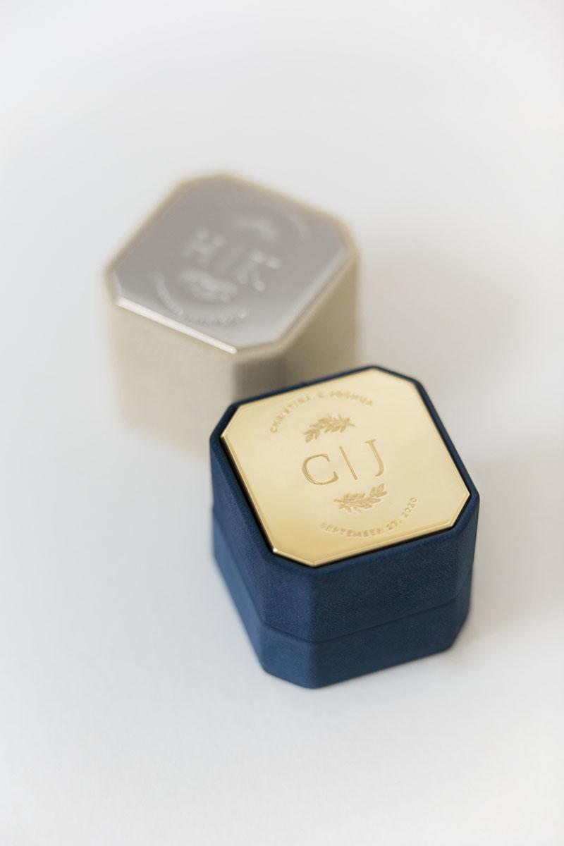 Bark-and-Berry-Grand-Nicholas-Anne-octagon-vintage-wedding-embossed-engraved-enameled-individual-monogram-velvet-suede-ring-box-001