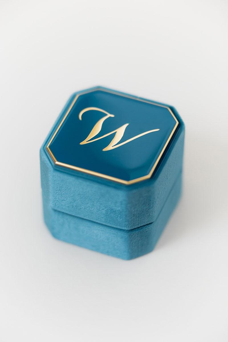 Bark-and-Berry-Grand-Peacock-octagon-vintage-wedding-engraved-embossed-enameled-individual-monogram-velvet-ring-box-001