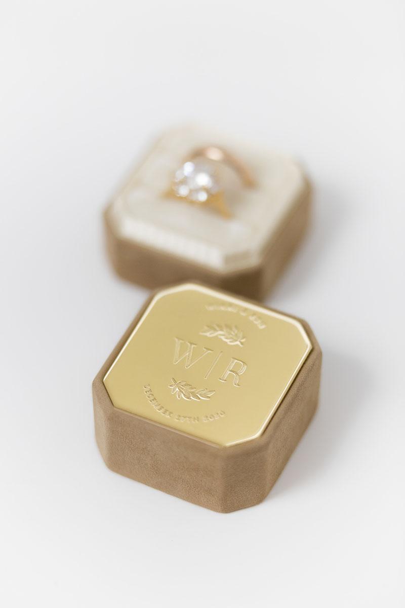 Bark-and-Berry-Grand-Camel-octagon-vintage-wedding-embossed-engraved-enameled-individual-monogram-velvet-suede-ring-box-001
