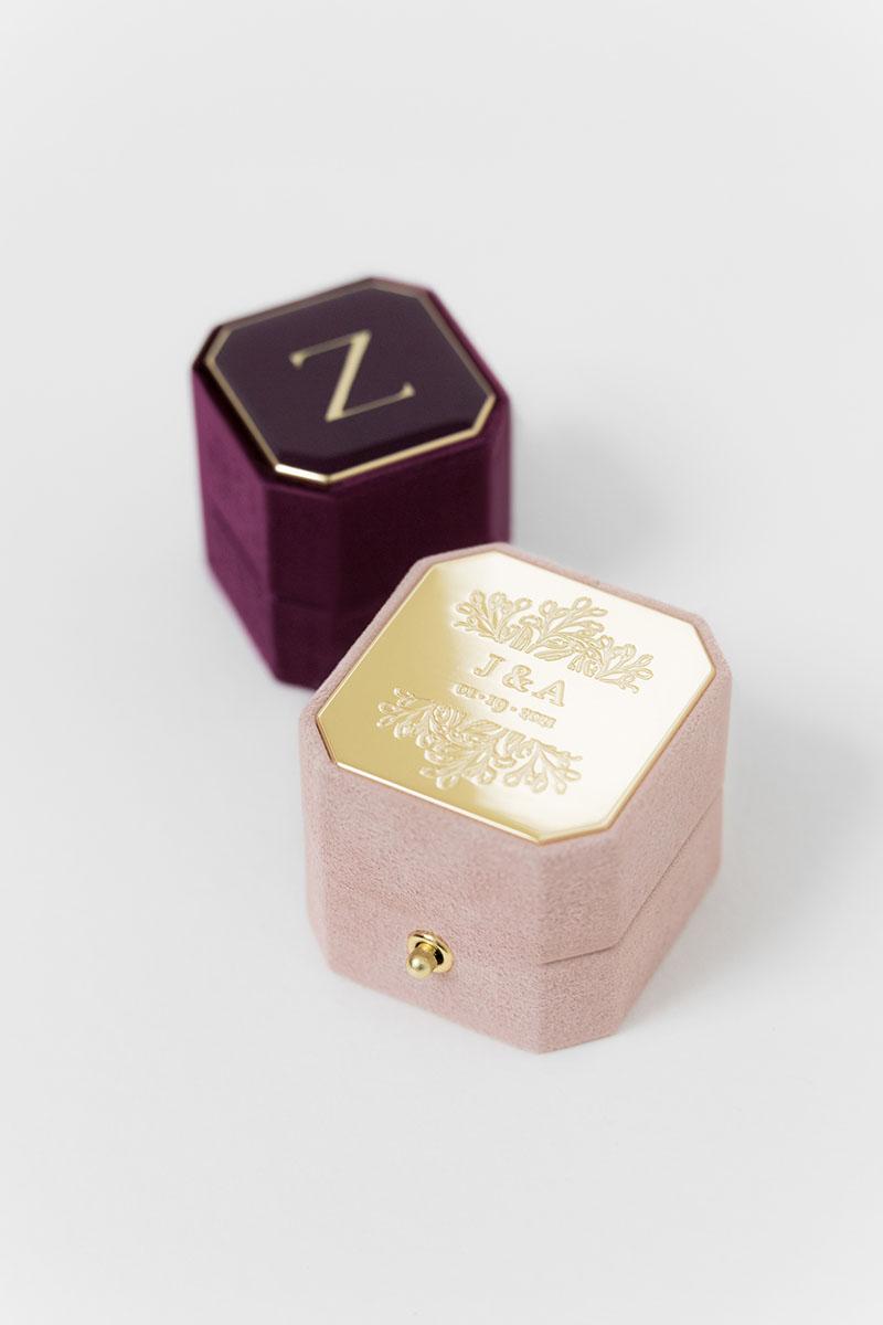 Bark-and-Berry-Grand-Diana-lock-Petite-Plum-octagon-vintage-wedding-engraved-embossed-enameled-individual-monogram-suede-velvet-ring-box-001