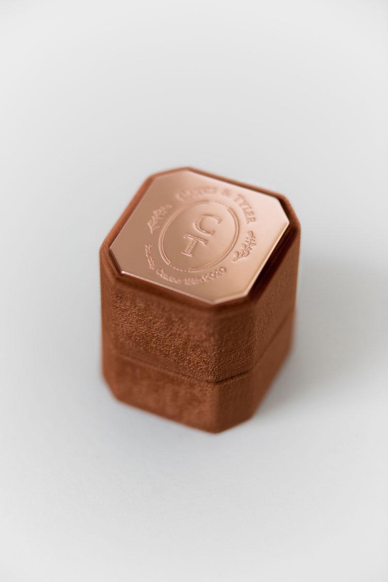 Bark-and-Berry-Petite-Cognac-octagon-vintage-wedding-embossed-engraved-enameled-individual-monogram-velvet-ring-box-001
