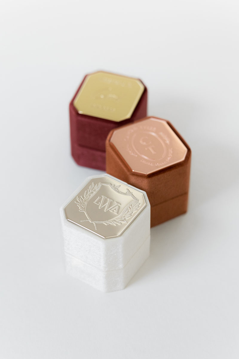 Bark-and-Berry-Petite-Ivory-Cognac-Wine-octagon-vintage-wedding-engraved-embossed-enameled-individual-monogram-velvet-ring-box-001