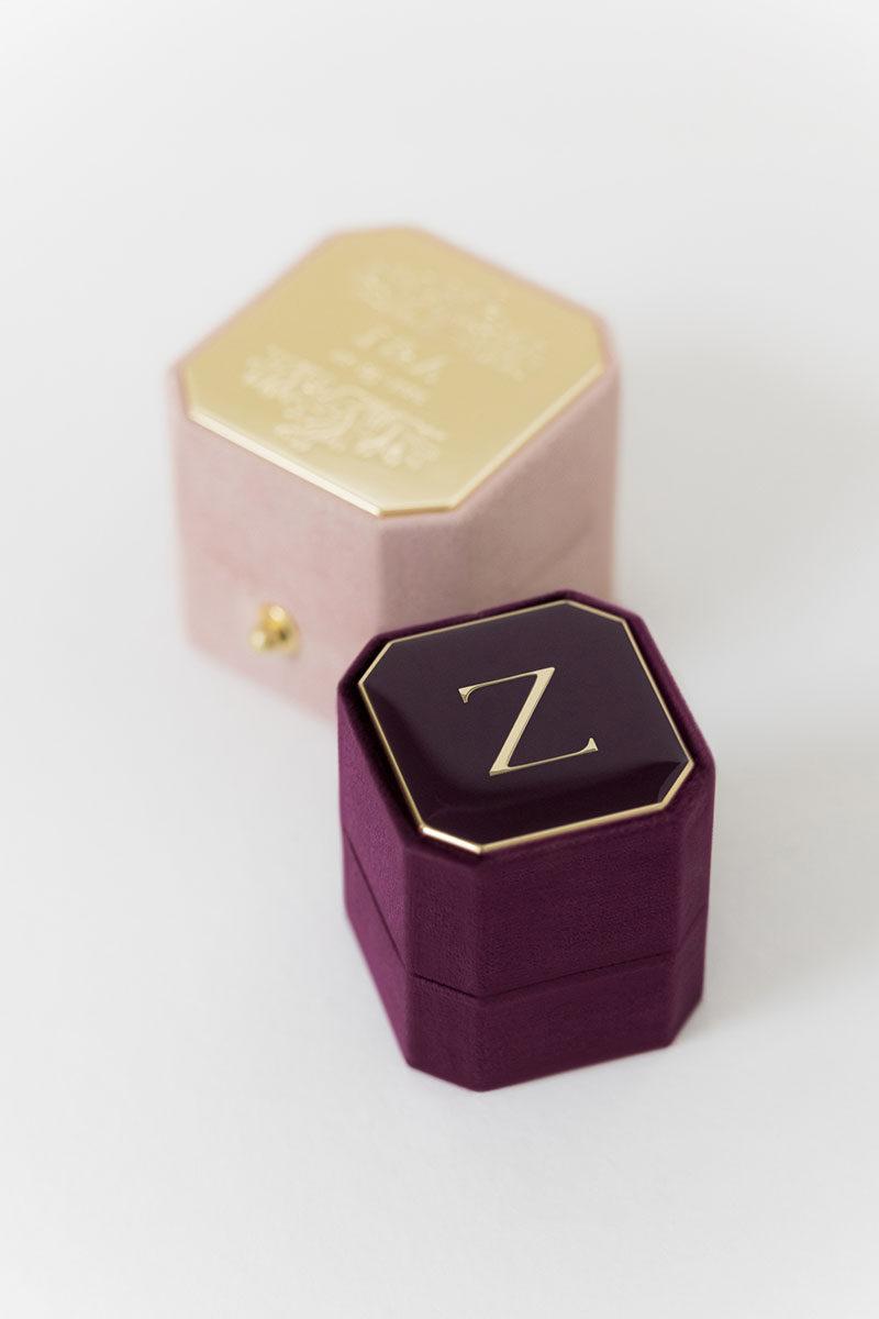 Bark-and-Berry-Petite-Plum-Grand-Diana-lock-octagon-vintage-wedding-engraved-embossed-enameled-individual-monogram-suede-velvet-ring-box-001