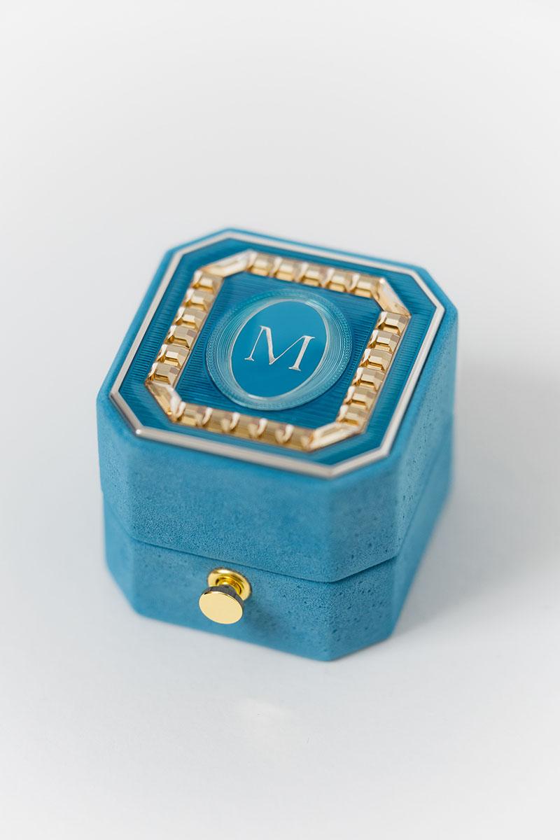 Bark-and-Berry-Grand-Cerulean-lock-octagon-vintage-wedding-embossed-engraved-enameled-monogram-suede-velvet-ring-box-guilloche-swarovski-crystals-001