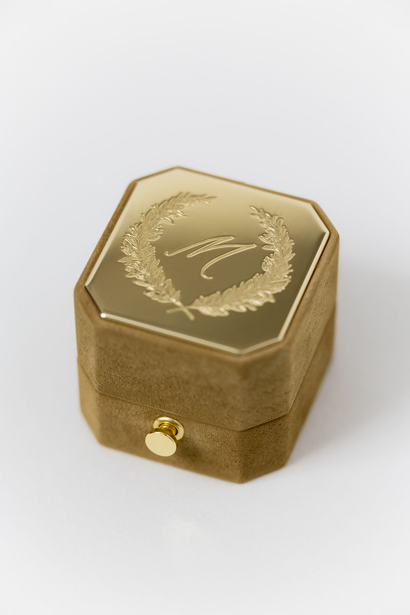 Bark-and-Berry-Grand-Ochre-lock-octagon-vintage-wedding-engraved-embossed-engraved-enameled-individual-monogram-suede-velvet-ring-box-002