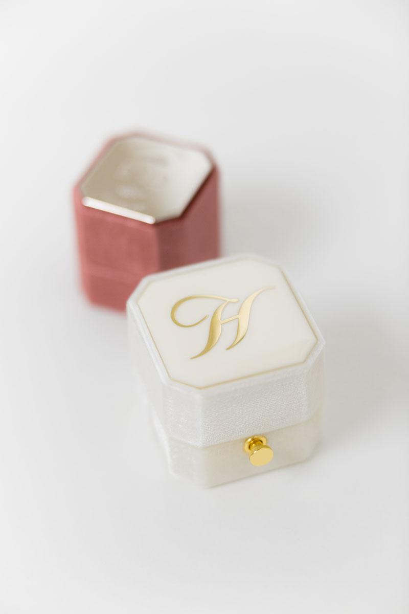 Bark-and-Berry-Grand-Ivory-lock-Petite-Dusty-Cedar-octagon-vintage-wedding-engraved-embossed-enameled-individual-monogram-velvet-ring-box-002