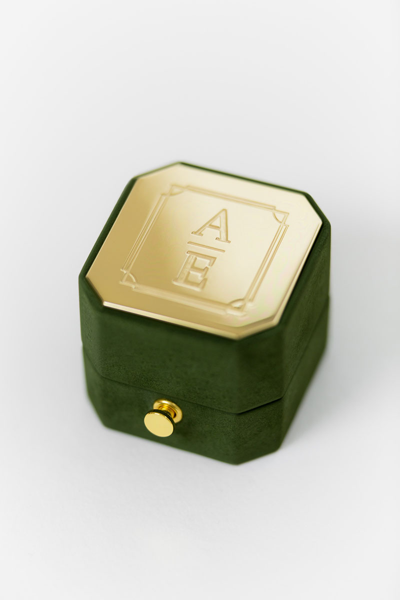 Bark-and-Berry-Grand-Charlotte-octagon-vintage-wedding-embossed-engraved-enameled-individual-monogram-suede-velvet-ring-box-004