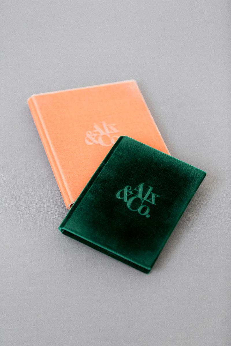 Bark-and-Berry-Emerald-Peach-vintage-velvet-wedding-embossed-monogram-vows-book-folder-10x15-13х18-001